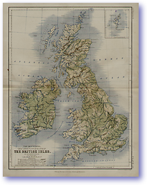Geology The Mountains of The British Isles - 1852 (Keith Johnsons Physical School Atlas - Published: 1852)