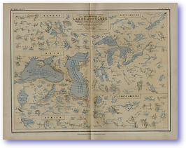 Hydrology Lakes of The Globe - 1852 (Keith Johnsons Physical School Atlas - Published: 1852)