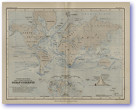 Hydrology Ocean Currents - 1852 (Keith Johnston's Physical School Atlas - Published: 1852) 600 DPI