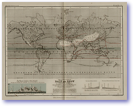 Meteorology Rain and Snow Over The Globe - 1852 (Keith Johnsons Physical School Atlas - Published: 1852)