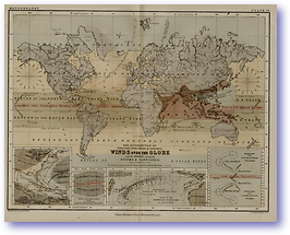 Meteorology Winds Over The Globe - 1852 (Keith Johnsons Physical School Atlas - Published: 1852)