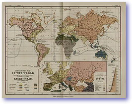 Natural History World Ethnographic Map - 1852 (Keith Johnsons Physical School Atlas - Published: 1852)