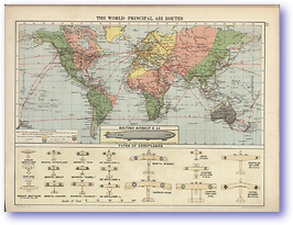 The World Principal Air Routes - 1920 (Peoples' Atlas - Published: 1920) 600 DPI