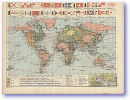 The World Principal Steamship Lines and Isochronic Chart - 1920 (Peoples' Atlas - Published: 1920) 600 DPI