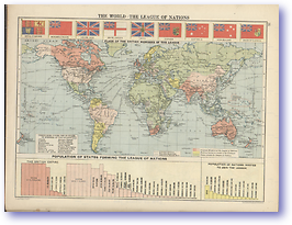 The World The League of Nations - 1920 (Peoples' Atlas - Published: 1920) 600 DPI