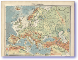 Europe Physical - 1920 (The Peoples Atlas - Published: 1920)