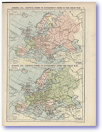 Europe Government Before and After The Great War - 1914 - 1918 (The Peoples Atlas - Published: 1920)