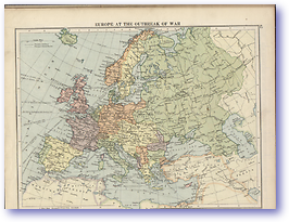 Europe At The Outbreak of War - 1914 (The Peoples Atlas - Published: 1920)
