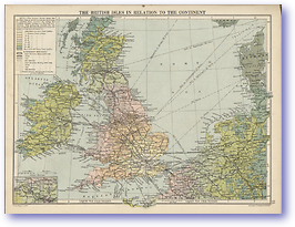The British Isles In Relation to The Continent - 1920 (The Peoples Atlas - Published: 1920)