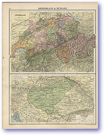 Switzerland and Hungary - 1920 (Peoples' Atlas - Published: 1920) 600 DPI