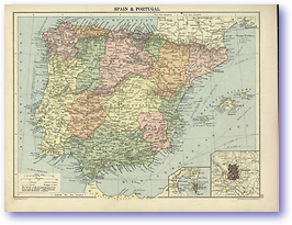 Spain and Portugal - 1920 (Peoples' Atlas - Published: 1920) 600 DPI