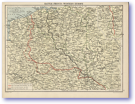 Battle Fronts Western Europe - 1914 - 1918 (The Peoples Atlas - Published: 1920)