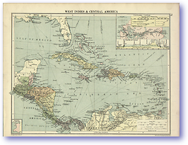 West Indies and Central America - 1920 (Peoples' Atlas - Published: 1920) 600 DPI