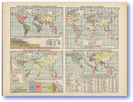 The World Money and Languages - 1920 (Peoples' Atlas - Published: 1920) 600 DPI