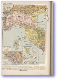 Ancient Northern Italy - Circa 38 BC - 132 BC (Atlas General Histoire et Geographie - Published: 1912) 600 DPI