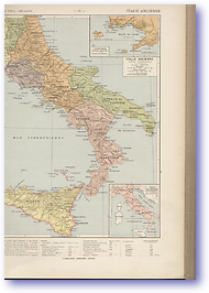 Ancient Southern Italy - Circa 38 BC - 132 BC (Atlas General Histoire et Geographie - Published: 1912) 600 DPI