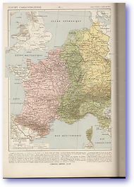 Western Europe Carlovian Carlovingienne - 843 AD (Atlas General Histoire et Geographie - Published: 1912)