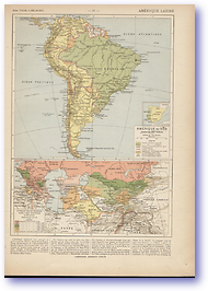 19th Century South America and Central Asia - 19th C (Atlas General Histoire Et Geographie - Published: 1912)