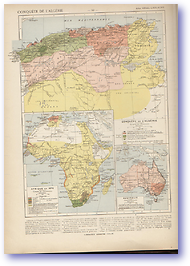 French Conquest of Algeria - 1870 (Atlas General Histoire et Geographie - Published: 1912) 600 DPI