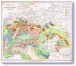 Geological Map of Central Europe - 1887 (Our Earth and its Story - Vol 2 - Published: 1888) 600 DPI