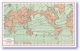 Isobars and Prevailing Winds in January - 1888 (Our Earth and its Story - Vol 3 - Published: 1889) 600 DPI