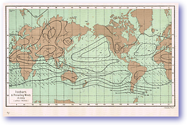 Isobars and Prevailing Winds in July - 1888 (Our Earth and its Story - Vol 3 - Published: 1889) 600 DPI