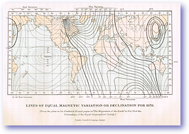 Lines of Equal Magnetic Variation or Declination - 1888 (Our Earth and its Story - Vol 3 - Published: 1889) 600 DPI