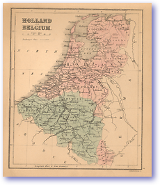 Holland and Belgium - 1866 (Black's School Atlas for Beginners - Published: 1866) 1200 DPI
