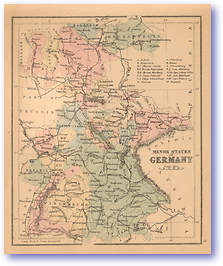 Minor States of Germany - 1866 (Black's School Atlas for Beginners - Published: 1866) 1200 DPI