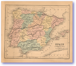 Spain and Portugal - 1866 (Black's School Atlas for Beginners - Published: 1866) 1200 DPI