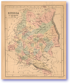 Russia in Europe - 1866 (Black's School Atlas for Beginners - Published: 1866) 1200 DPI