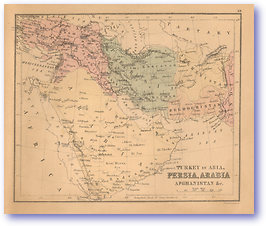 Turkey in Asia, Persia, Arabia, Afghanistan Etc - 1866 (Black's School Atlas for Beginners - Published: 1866) 1200 DPI