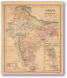 India Or Hindoostan Incl Bengal Dependencies - 1866 (Black's School Atlas For Beginners - Published: 1866)