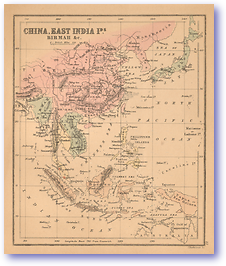 China, East India Islands and Burma - 1866 (Black's School Atlas for Beginners - Published: 1866) 1200 DPI