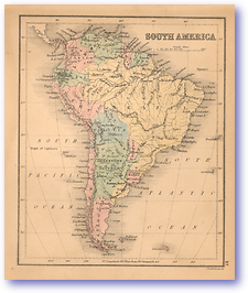 South America - 1866 (Black's School Atlas for Beginners - Published: 1866) 1200 DPI