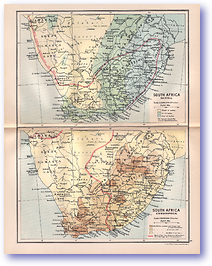 South Africa Rainfall and Ethnographical - 1895 (Castle Line Atlas of South Africa - Published: 1895) 1200 DPI