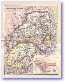 South African Republic and the Orange Free State - 1895 (Castle Line Atlas of South Africa - Published: 1895) 1200 DPI