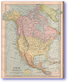 North America - 1901 (Mitchells New Intermediate Geography - Pennsylvania Edition - Published: 1901)