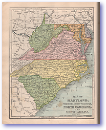 Maryland Virginia West Virginia North Carolina and South Carolina - 1901 (Mitchells New Intermediate Geography - Pennsylvania Edition - Published: 1901)