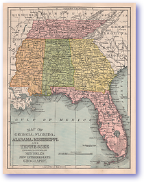 Georgia Florida Alabama Mississippi and Tennessee - 1901 (Mitchells New Intermediate Geography - Pennsylvania Edition - Published: 1901) 1200 DPI