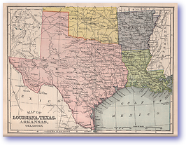 Louisiana Texas Arkansas and Oklahoma - 1901 (Mitchells New Intermediate Geography - Pennsylvania Edition - Published: 1901)