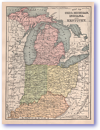 Ohio Michigan Indiana and Kentucky - 1901 (Mitchells New Intermediate Geography - Pennsylvania Edition - Published: 1901)