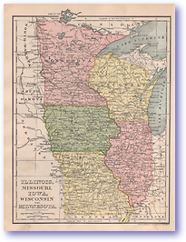 Illinois Missouri Iowa Wisconsin and Minnesota - 1901 (Mitchells New Intermediate Geography - Pennsylvania Edition - Published: 1901)