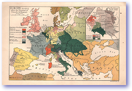 Europe After Treaties of Utrecht and Rastadt - 1715 (History of Europe - Published: 1918) 1200 DPI