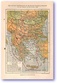 Frontiers of the Balkan Powers After Treaty of Bucharest - 1913 (History of Europe - Published: 1918) 1200 DPI