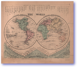 The World - 1866 (Black's School Atlas for Beginners - Published: 1866) 1200 DPI