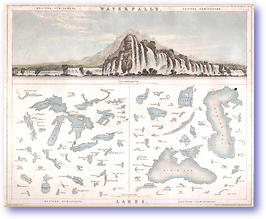 Comparative Lakes and Waterfalls - 1840 (Gilbert's Modern Atlas - Published: 1840) 1200 DPI