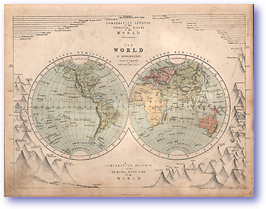 World in Hemispheres - 1868 (Mcleod's Middle-class Atlas - Published: 1868) 1200 DPI