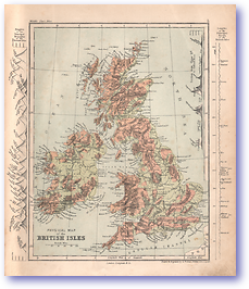 Physical Map of the British Isles - 1868 (Mcleod's Middle-class Atlas - Published: 1868) 1200 DPI