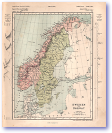Sweden and Norway - 1868 (Mcleod's Middle-class Atlas - Published: 1868) 1200 DPI